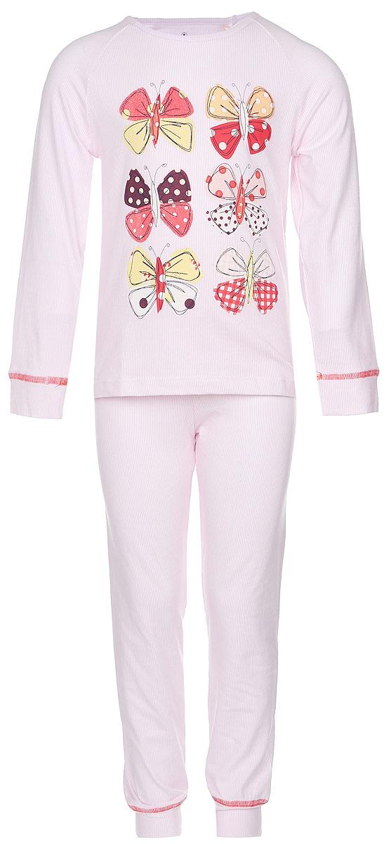 ПижамаN9047273-22Мягкая пижама для девочки Baykar, состоящая из футболки с длинным рукавом и брюк, идеально подойдет ребенку для отдыха и сна. Модель выполнена из хлопка с добавлением эластана, очень приятная к телу, не сковывает движения, хорошо пропускает воздух. Футболка с круглым вырезом горловины и длинными рукавами-реглан оформлена принтом в тонкую полоску и термоаппликациями в виде бабочек. Низ рукавов дополнен широкими манжетами. Брюки на талии имеют мягкую резинку, благодаря чему они не сдавливают животик ребенка и не сползают. Низ брючин дополнен широкими манжетами. Изделие оформлено принтом в полоску. В такой пижаме ребенок будет чувствовать себя комфортно и уютно!