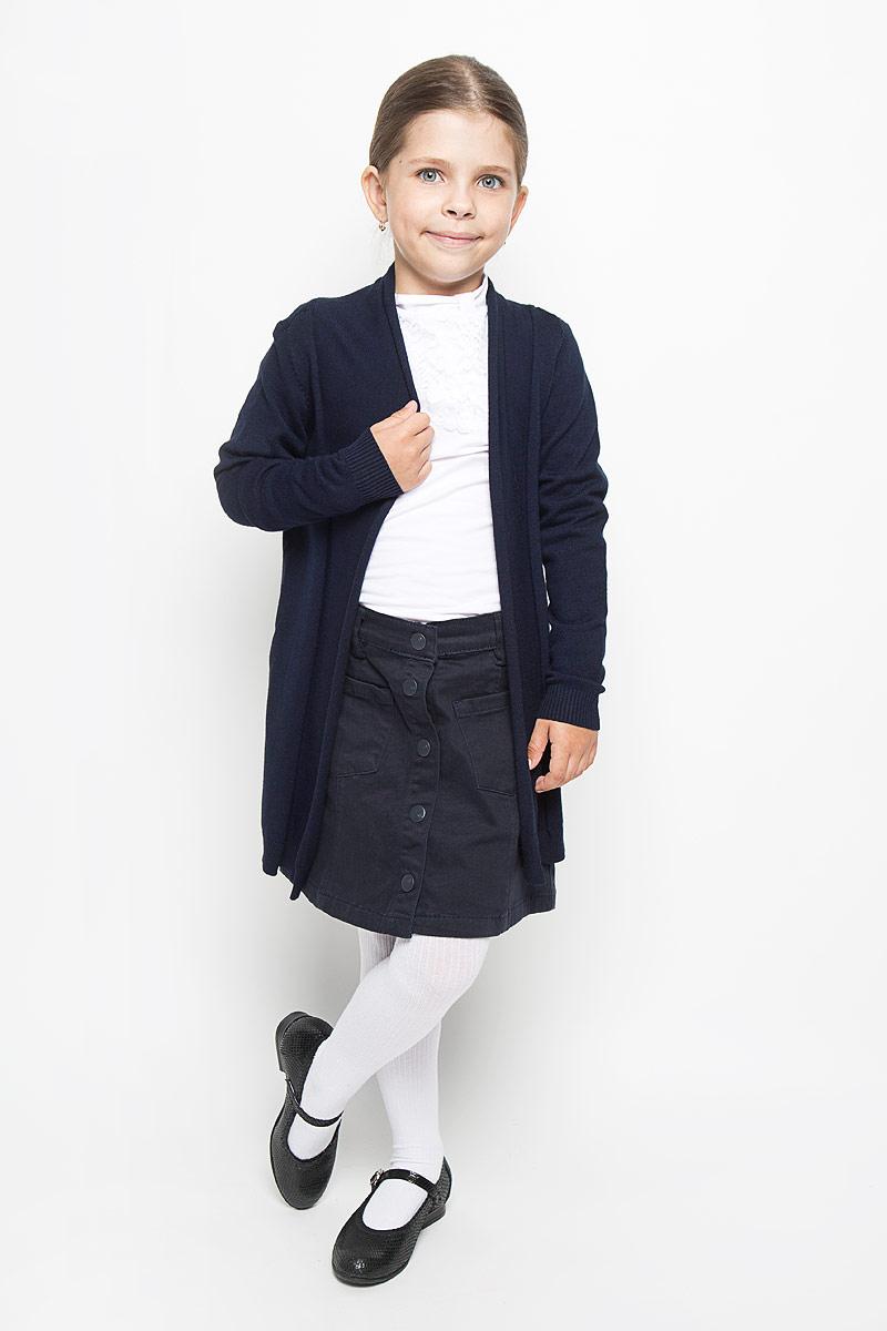 Кардиган для девочки School. 64175_OLG64175_OLG, вар.1Стильный кардиган для девочки Orby School идеально подойдет для школы и повседневной носки. Изготовленный из вискозы с добавлением нейлона, он мягкий и приятный на ощупь, не сковывает движения и позволяет коже дышать, не раздражает даже самую нежную и чувствительную кожу ребенка, обеспечивая ему наибольший комфорт. Модель с длинными рукавами и воротником-шалькой. Манжеты и низ изделия связаны резинкой. В боковых швах обработаны небольшие разрезы.Такой кардиган - хорошая альтернатива пиджаку в прохладное время года. Являясь важным атрибутом школьной моды, он обеспечивает тепло и комфорт.