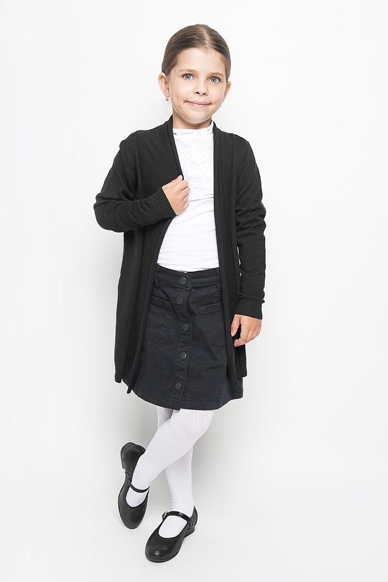 64175_OLG, вар.1Стильный кардиган для девочки Orby School идеально подойдет для школы и повседневной носки. Изготовленный из вискозы с добавлением нейлона, он мягкий и приятный на ощупь, не сковывает движения и позволяет коже дышать, не раздражает даже самую нежную и чувствительную кожу ребенка, обеспечивая ему наибольший комфорт. Модель с длинными рукавами и воротником-шалькой. Манжеты и низ изделия связаны резинкой. В боковых швах обработаны небольшие разрезы.Такой кардиган - хорошая альтернатива пиджаку в прохладное время года. Являясь важным атрибутом школьной моды, он обеспечивает тепло и комфорт.