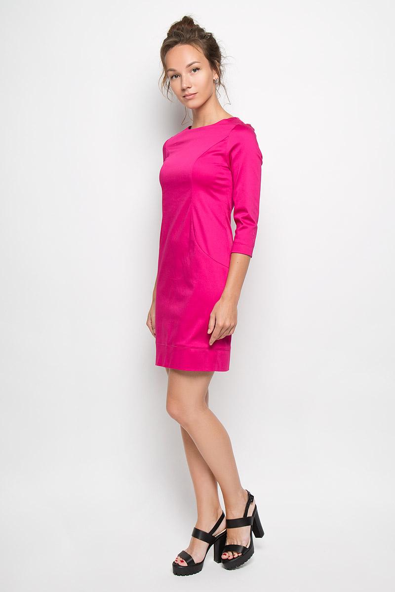 Платье. 1041610416Яркое платье-миди Milana Style поможет создать оригинальный женственный образ. Выполненное из хлопка с добавлением полиамида, оно очень приятное на ощупь, не сковывает движений и хорошо вентилируется. Модель с круглым вырезом горловины и рукавами 3/4 сзади застегивается на потайную застежку-молнию. Такое платье станет модным и стильным дополнением к вашему гардеробу!