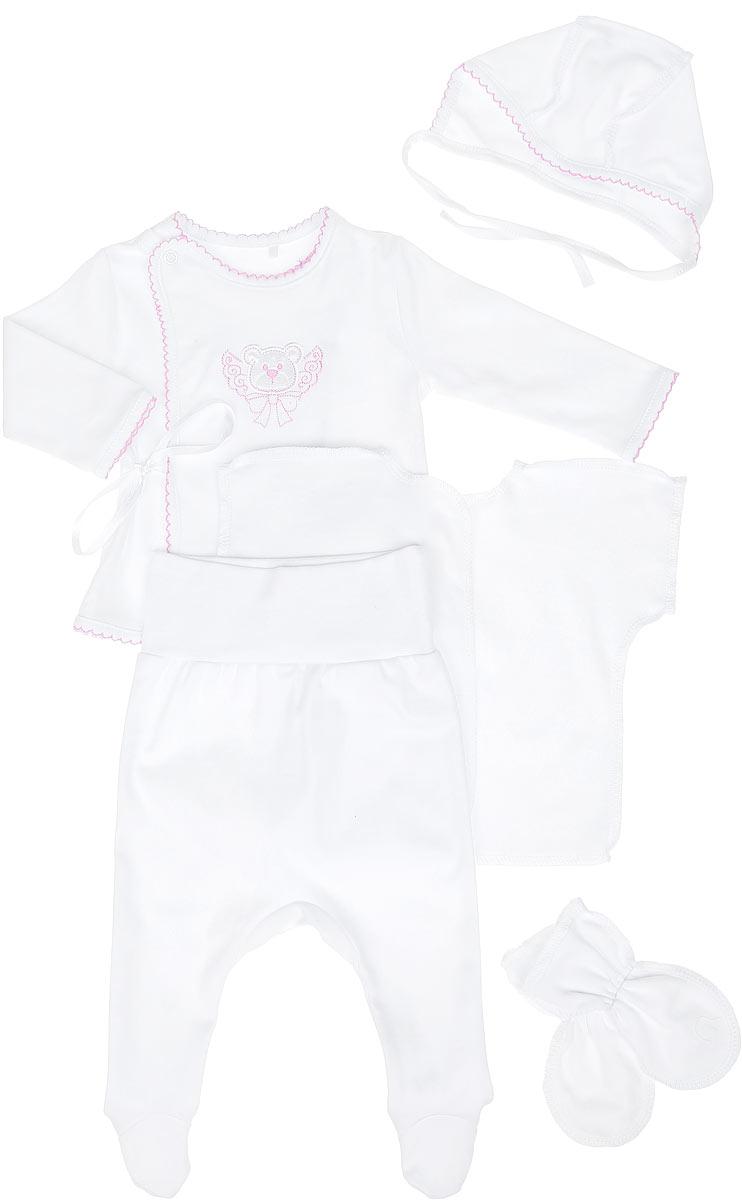 Комплект для новорожденного, 5 предметов. KP5KP5-10Комплект для новорожденного БЕМБІ - это замечательный подарок, который прекрасно подойдет для первых дней жизни малыша. Комплект состоит из кофточки, распашонки, ползунков, рукавичек и чепчика. Он необычайно мягкий и приятный на ощупь, не сковывает движения малыша и позволяет коже дышать, не раздражает даже самую нежную и чувствительную кожу ребенка, обеспечивая ему наибольший комфорт. Кофточка с длинными рукавами и ассиметричным запахом застегивается на кнопки и дополнительно сбоку завязывается на ленточки. Вырез горловины, края рукавов, низ изделия и планка с кнопками дополнены трикотажной бейкой с декоративными петельками. Изделие оформлено вышивкой. Ползунки с закрытыми ножками на талии имеют широкий эластичный пояс, благодаря которому они не сдавливают животик ребенка и не сползают, обеспечивая наибольший комфорт. Модель идеально подходит для ношения с подгузником и без него. Мягкий чепчик, необходимый любому младенцу, защищает еще не заросший родничок, щадит...