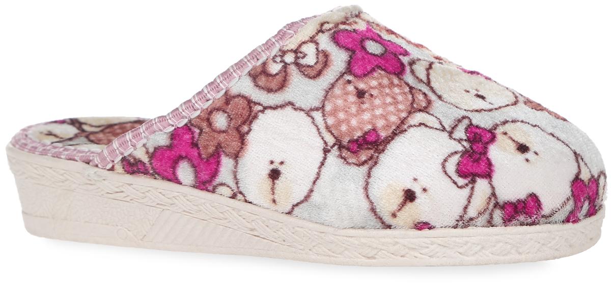 Тапки для девочки. 306 -2 В306 -2 ВДомашние тапки от Bris придутся по душе вашей девочке! Модель выполнена из текстиля и оформлена принтом с изображением мишек и цветов. Подкладка и стелька из мягкого текстиля не дадут ногам вашей девочки замерзнуть. Рифление на подошве обеспечивает идеальное сцепление с любой поверхностью. Чудесные тапки подарят чувство уюта и комфорта.