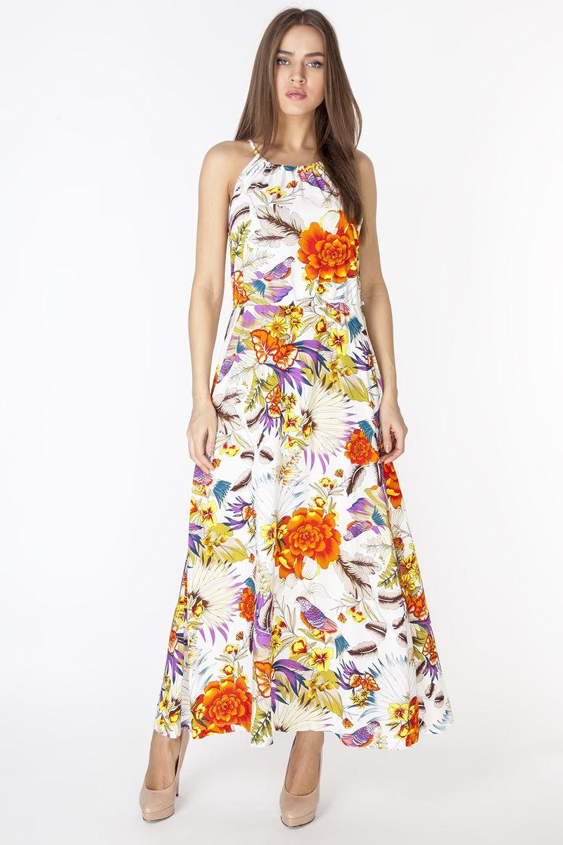 СарафанD3217Длинный сарафан из вискозной ткани с ярким цветочным принтом. Модель с круглой линией горловины, собирающейся на кулиску, завязывающуюся сзади. По талии платья резинка. Комплектуется ремнем.