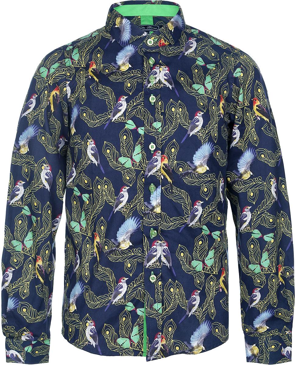 Рубашка для мальчика. NR6301-22NR6301-22Стильная рубашка для мальчика Nota Bene идеально подойдет вашему ребенку. Изготовленная из натурального хлопка, она мягкая и приятная на ощупь, не сковывает движения и позволяет коже дышать, обеспечивая наибольший комфорт. Рубашка с длинными рукавами и отложным воротничком застегивается на пластиковые пуговицы спереди. Манжеты рукавов также застегиваются на пуговицы. Изделие оформлено принтом с изображением птиц и перьев. Современный дизайн и расцветка делают эту рубашку стильным предметом детского гардероба. Модель можно носить как с джинсами, так и с классическими брюками.