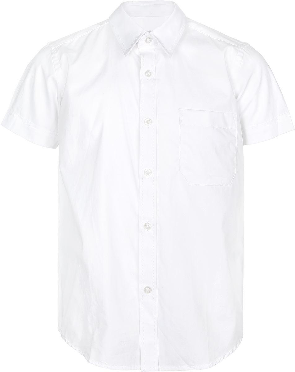 Рубашка для мальчика. AW15BS350B-1AW15BS350B-1Рубашка для мальчика Nota Bene, выполненная из натурального хлопка, отлично сочетается как с джинсами, так и с классическими брюками. Материал изделия мягкий и приятный на ощупь, не сковывает движения и обладает высокими дышащими свойствами. Рубашка с короткими рукавами и отложным воротником застегивается спереди на пуговицы по всей длине. На груди расположен накладной карман. Классический крой и высокое качество исполнения принесут удовольствие от покупки и подарят отличное настроение!