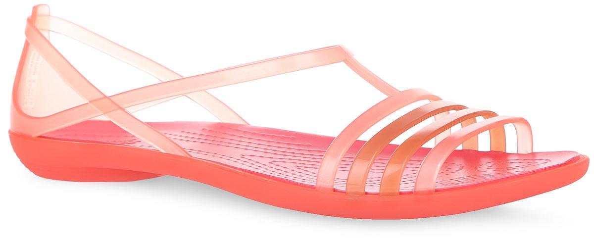 Сандалии женские Isabella. 202465202465-376Модные сандалии Isabella от Crocs - незаменимая вещь в гардеробе каждой женщины. Верх модели выполнен из термопластичного полиуретана. Рельефная поверхность верхней части подошвы комфортна при движении. Рифленое основание подошвы гарантирует идеальное сцепление с любой поверхностью. Такие сандалии не только прекрасно смотрятся на ноге, еще они очень удобны и долговечны. Эффектные сандалии станут прекрасным завершением вашего летнего образа.