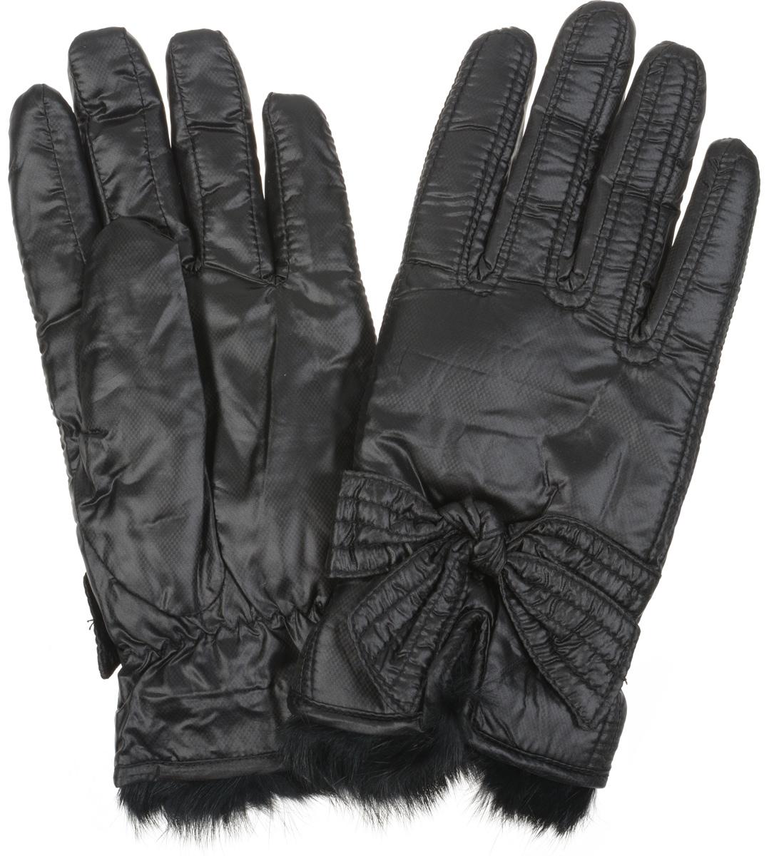 Перчатки женские. SD13SD13Прекрасные теплые женские перчатки торговой марки Modo - незаменимый аксессуар зимнего гардероба. Модель выполнена из полиэстера с мягкой флисовой подкладкой и отделкой из меха кролика. На лицевой стороне перчатки у запястья расположен разрез. Декорированы перчатки узлом в виде бантика и дополнены стягивающей резинкой у запястья. Великолепные перчатки Modo не только согреют пальчики, но и дополнят ваш образ в качестве эффектного аксессуара.