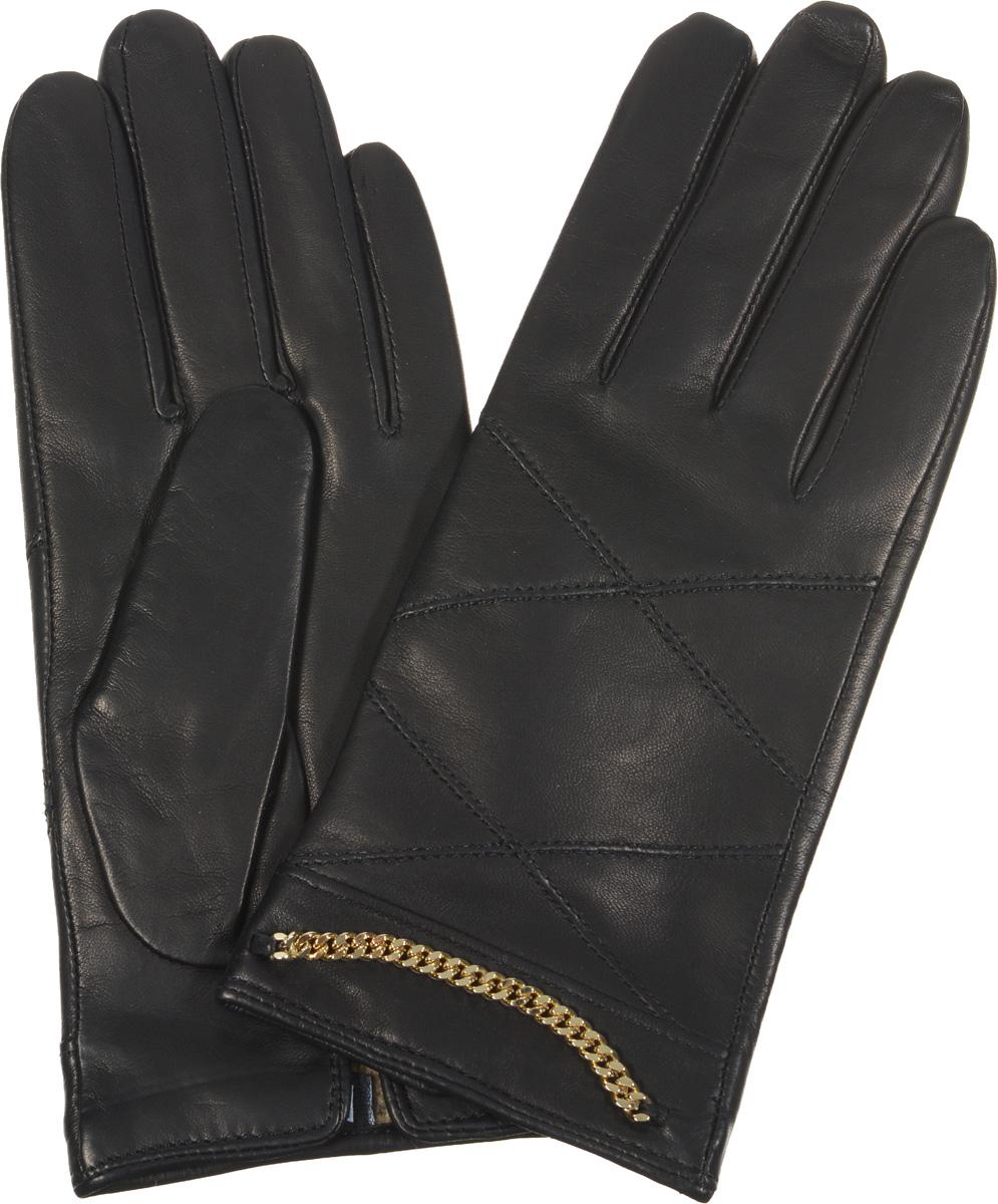 Перчатки2.74-1Элегантные женские перчатки Fabretti станут великолепным дополнением вашего образа и защитят ваши руки от холода и ветра во время прогулок. Перчатки выполнены из эфиопской перчаточной кожи ягненка на подкладке из шерсти с добавлением кашемира, что позволяет им надежно сохранять тепло. Манжеты с тыльной стороны дополнены небольшими разрезами. Модель декорирована металлической цепочкой и оформлена декоративной прострочкой. Такие перчатки будут оригинальным завершающим штрихом в создании современного модного образа, они подчеркнут ваш изысканный вкус и станут незаменимым и практичным аксессуаром.