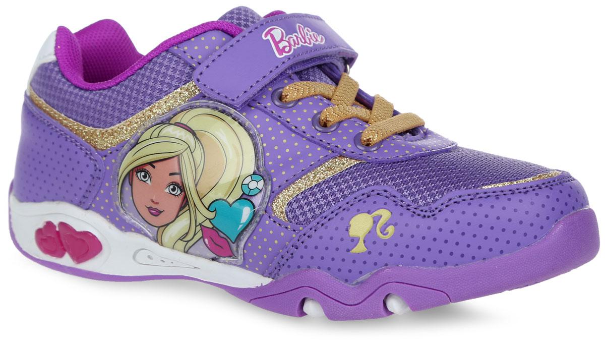 Кроссовки для девочки Barbie. 5855C5855CПрелестные кроссовки Barbie от Kakadu очаруют вашу дочурку с первого взгляда! Модель выполнена из синтетической кожи со вставками из сетчатого текстиля. Обувь оформлена узором в мелкий горошек, сбоку - нашивкой из ПВХ с изображением прекрасной Барби, на ремешке - тиснением в виде надписи Barbie. Ремешок с застежкой-липучкой и эластичная шнуровка гарантируют оптимальную посадку кроссовок на ножке вашей дочурки. Амортизирующая стелька с антибактериальной пропиткой обладает высокой воздухопроницаемостью, прекрасно впитывает лишнюю влагу, нейтрализует неприятный запах и придает дополнительный комфорт при ходьбе. Подошва с протектором обеспечивает идеальное сцепление с любой поверхностью. Эффектные кроссовки приведут в восторг вашу маленькую модницу!