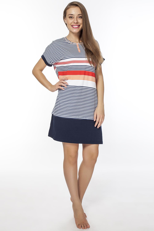 LDR2076Оригинальное домашнее платье с круглым вырезом горловины и короткими рукавами, запринтовано в полоску райе.