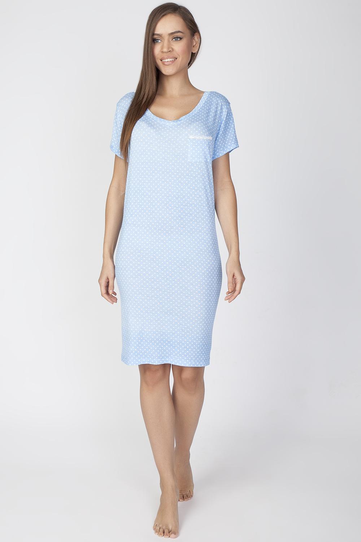 ПлатьеLDR2084Комфортное домашнее платье из качественного материала. Платье с круглым вырезом горловины и короткими рукавами дополнено нагрудным кармашком.