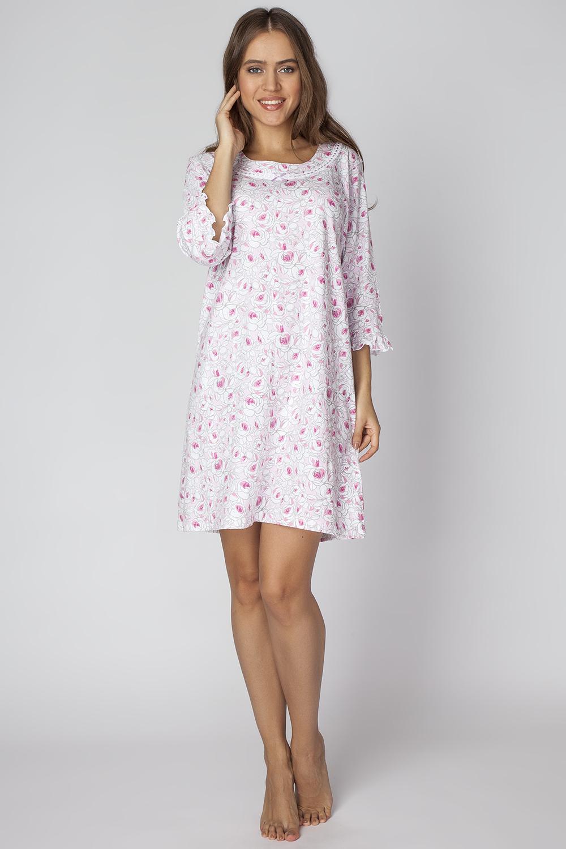 Платье домашнее. LDR2085LDR2085Интересное платье с круглым вырезом горловины с длинным рукавом, запринтовано в мелкий цветок.