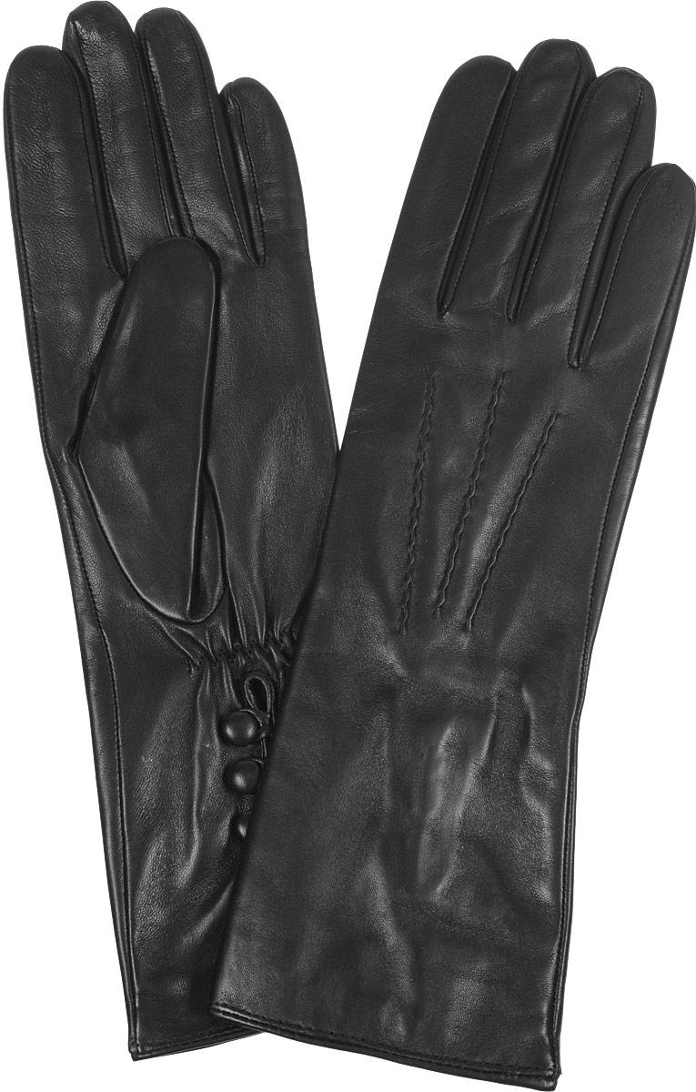 Перчатки2.42-1sВосхитительные женские перчатки Fabretti, выполненные из эфиопской натуральной кожи ягненка на шелковой подкладке, не только защитят ваши руки от холода, но и станут стильным дополнением вашего образа. Лицевая сторона оформлена аккуратной прострочкой три луча. Слегка удлиненные манжеты с тыльной стороны присборены на эластичную резинку для лучшей фиксации и дополнены тремя декоративными пуговицами. Такие перчатки подчеркнут ваш стиль и неповторимость, и придадут всему образу нотки женственности и элегантности.