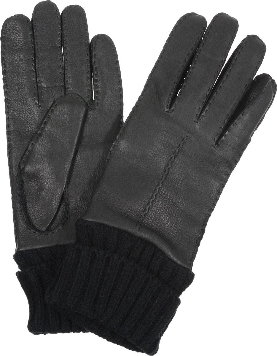 Перчатки женские. 2.412.41-1 blackСтильные женские перчатки Fabretti не только защитят ваши руки, но и станут великолепным украшением. Перчатки выполнены из чрезвычайно мягкой и приятной на ощупь эфиопской перчаточной кожи, а их подкладка - из шерсти с добавлением кашемира. Модель дополнена вязаными манжетами и оформлена фактурным тиснением. Строчки-стежки придают перчаткам динамичное настроение. Стильный аксессуар для повседневного образа.