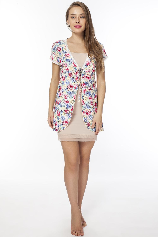 Халат женский. LH2061LH2061Легкий халат с короткими рукавами, длиной до колена с цветочным принтом. Застежка под грудью на завязки.