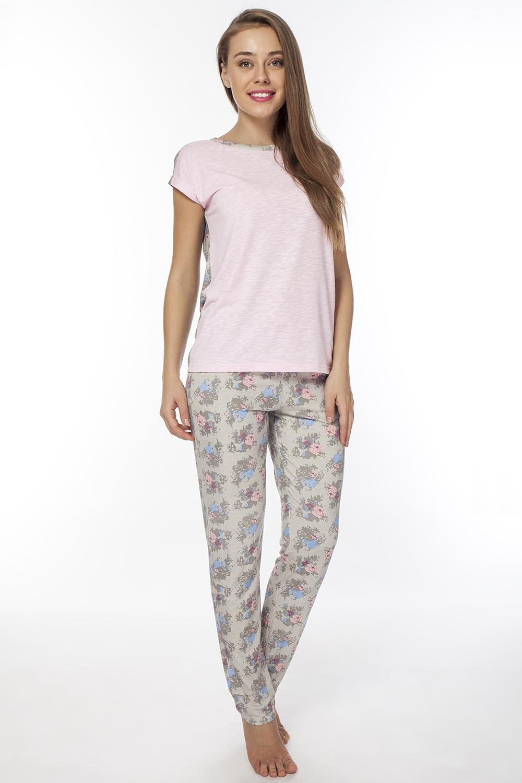 Костюм домашний женский. LPC2075TLPC2075TОригинальный домашний комплект, состоящий из брюк и нежной туники. Туника и брюки, запринтованы в нежный цветок.