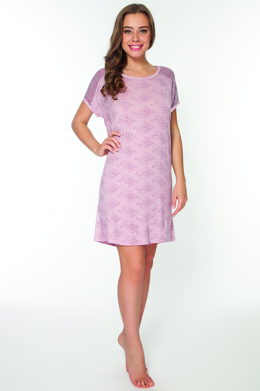 LS2064Оригинальная сорочка выполнена из эластичной вискозы с круглым вырезом горловины и короткими рукавами.