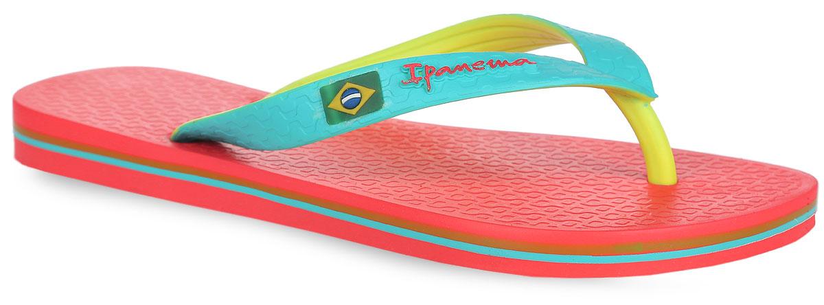 Сланцы81046-22115Стильные унисексовые пантолеты, в ярко-летней расцветке. Верх модели украшен логотипом фирмы.