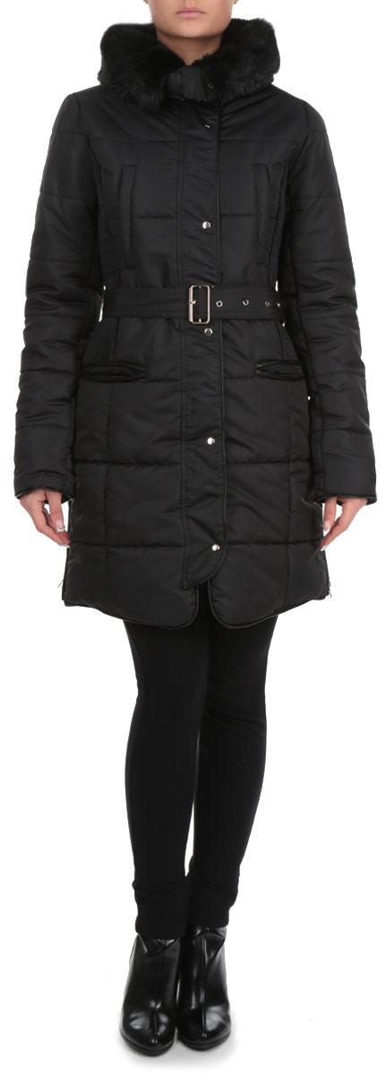 КурткаSKU0630CAСтильная женская куртка Top Secret, выполненная из 100%-го полиэстера, согреет вас в прохладную погоду. Модель приталенного силуэта с воротником-стойкой и длинными рукавами застегивается на металлическую застежку-молнию и дополнительно ветрозащитной планкой на металлические кнопки. Изделие дополнено утепленным воротником, оформленным искусственным мехом, который при желании можно отстегнуть. Рукава модели дополнены эластичными внутренними манжетами, препятствующими проникновению холодного воздуха. По бокам куртка декорирована застежками-молниями. Спереди изделие дополнено двумя втачными карманами на молнии. Текстильный ремешок подчеркивает линию талии. Эта теплая куртка станет отличным дополнением к вашему гардеробу.