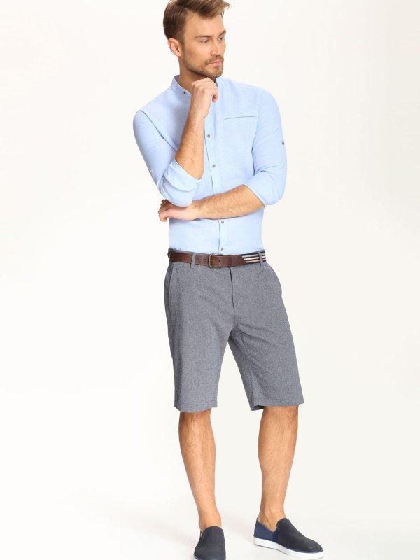 РубашкаSKL2017NIСтильная мужская рубашка Top Secret, выполненная из сочетания лена и хлопка, обладает высокой теплопроводностью и позволяет коже дышать. Модель классического кроя с отложным воротником застегивается на пуговицы. Длинные рукава рубашки дополнены манжетами на пуговицах. На локтях модель оформлена пришитыми заплатками, которые выполнены принтом в полоску.