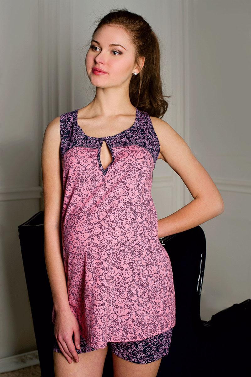 1-П 17628Пижама женская для беременных и кормящих выполнена из хлопкового набивного трикотажа. Топ с застежкой на кнопку для удобства кормления малыша. Шорты с эластичным поясом под живот.