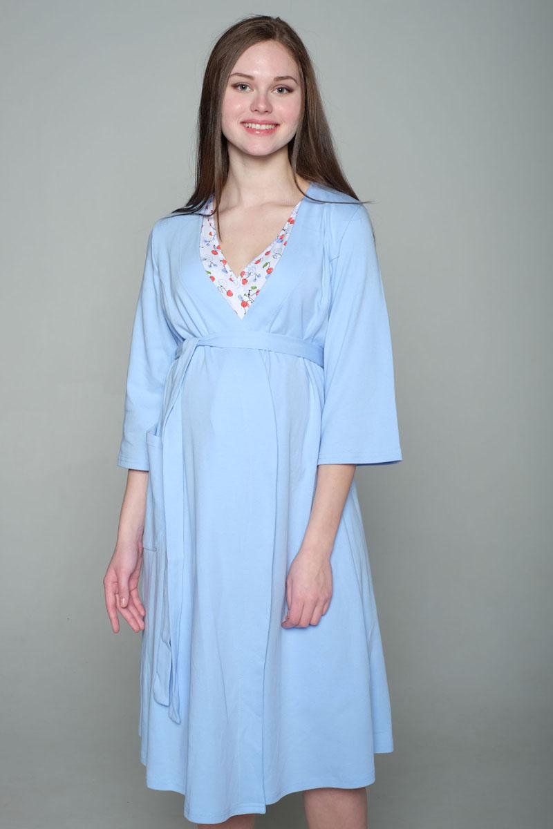 Домашний комплект2-НМК 07221Удобный комплект из мягкого трикотажного полотна состоит из халата и ночной сорочки. Сорочка с вырезом на запах для удобства кормления. Халат с рукавом 3/4, с накладным карманом.