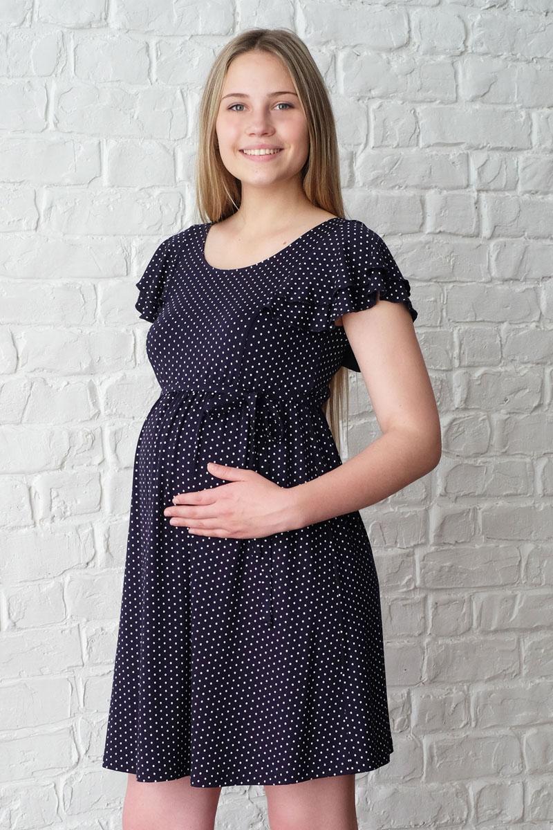 Платье3-НМ 32309Очаровательное летнее платье для будущих мамочек. Круглый вырез горловины, короткий рукав с двойным крылышком, завышенная линия талии, собранная на резинку, имеется пояс.