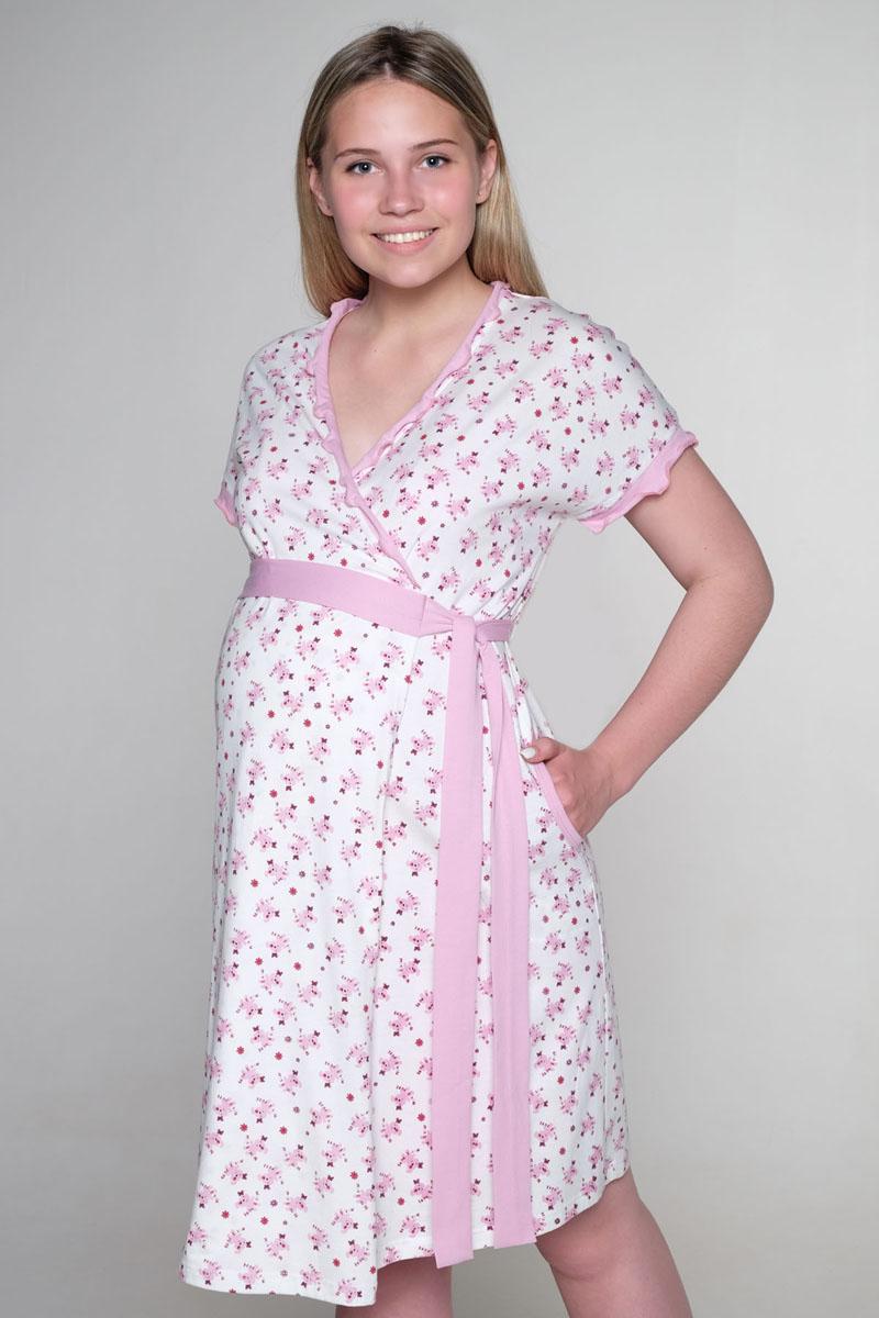 Домашний комплект3-К 05820Удобный комплект для беременных и кормящих мамочексостоит из халата и ночной сорочки. Легкий халат на запах с коротким рукавом, сорочка с клипсой для кормления.