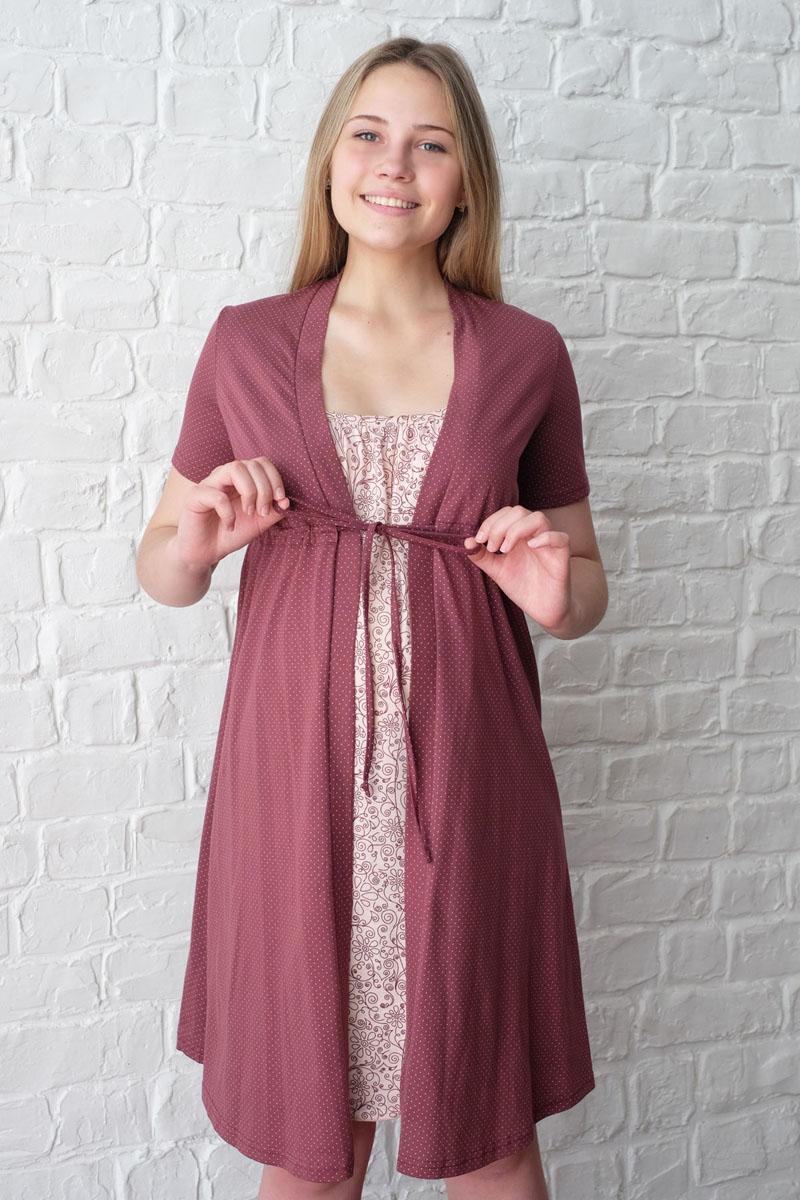 3-К 09220Легкий комплект, состоящий из халата-пеньюара и сорочки на бретелях с клипсой для кормления, выполнен из натурального хлопка.