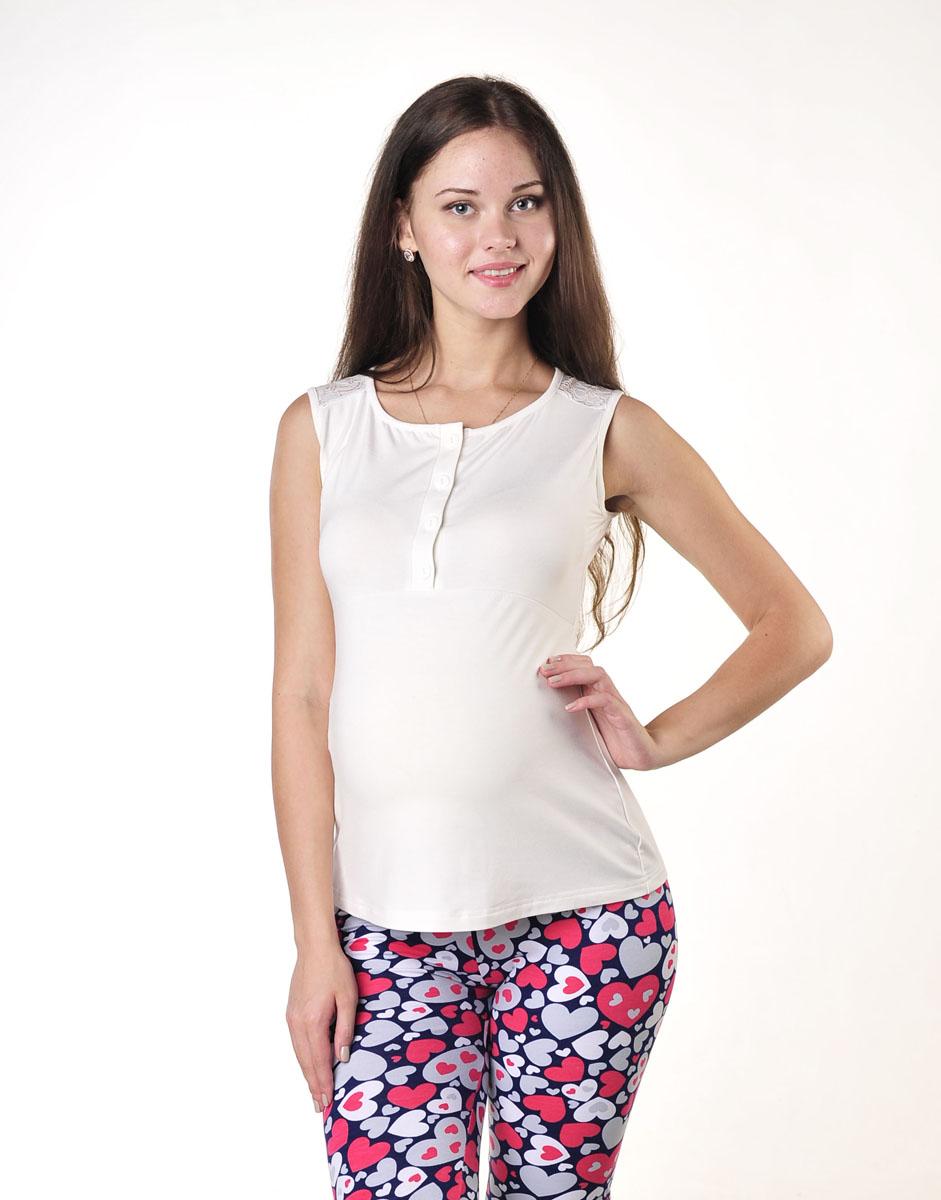 Майка18609Майка женская для беременных и кормящих выполнена из высококачественного материала. Округлый вырез горловины, на груди планка с застежкой на пуговицы, спинка украшена кружевным полотном.
