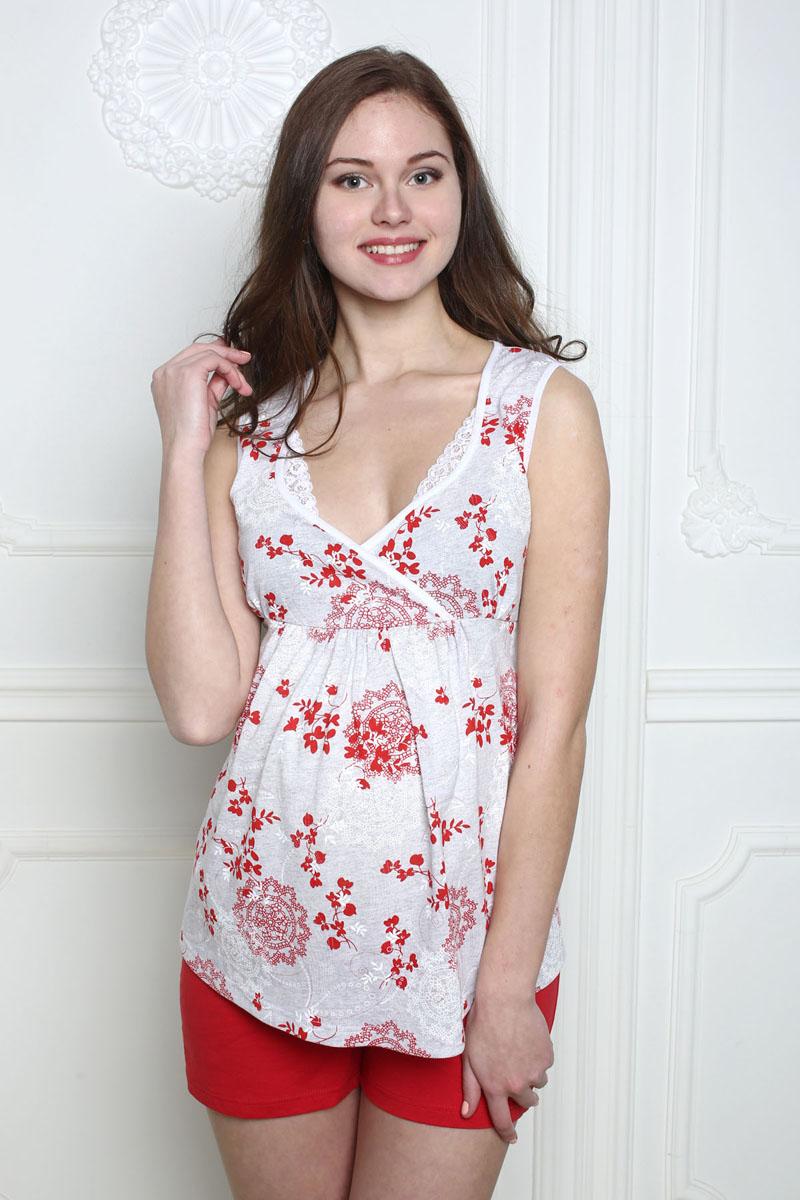 ПижамаП 06620Легкая пижама для беременных и кормящих состоит из топа и шорт. Топ, украшенный кружевом, имеет специальный крой для удобства кормления. Шорты на поясе под живот.