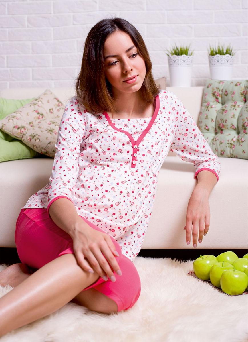 П 14520Пижама для беременных состоит из лонгслива и бридж. Лонгслив с рукавом 3/4 имеет глухую застежку на пуговицы и дополнительную внутреннюю деталь по груди. Бриджи с эластичным поясом под живот.