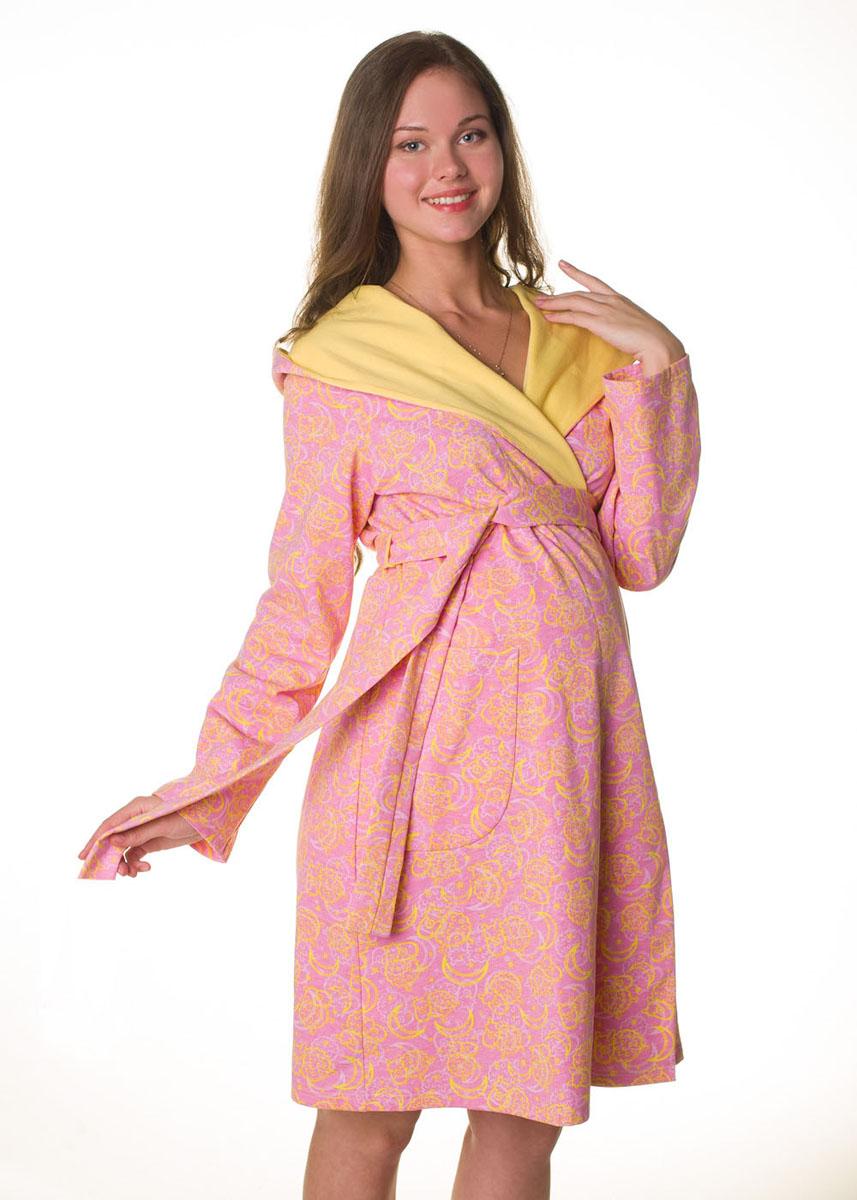 Халат2-НМК 03514Уютный халат для беременных и кормящих выполнен из качественного теплого трикотажного полотна. Халат на запах, длинный рукав, капюшон.