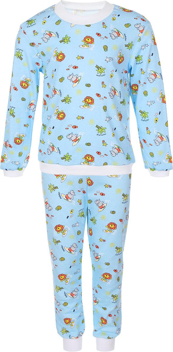 Пижама33-5872Мягкая пижама Фреш Стайл, состоящая из футболки с длинными рукавами и брюк, идеально подойдет ребенку для отдыха и сна. Модель выполнена из натурального хлопка, очень приятная к телу, не сковывает движения, хорошо пропускает воздух. Пижама оформлена принтом с изображением очаровательных зверушек. Футболка с длинными рукавами имеет круглый вырез горловины, оформленный трикотажной резинкой контрастного цвета. На рукавах предусмотрены мягкие манжеты. Низ изделия дополнен широкой трикотажной резинкой. Брюки имеют на талии эластичную резинку, благодаря чему они не сдавливают животик ребенка и не сползают. Низ брючин дополнен манжетами. В такой пижаме ребенок будет чувствовать себя комфортно и уютно!