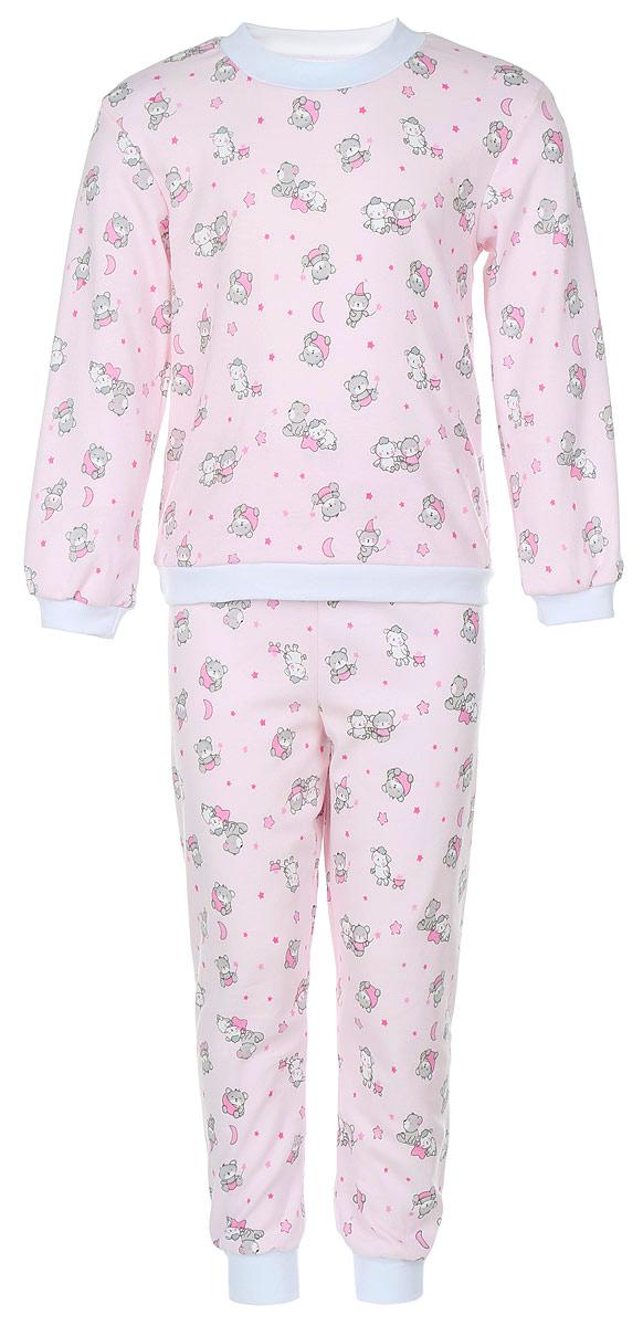 Пижама33-5872Пижама Фреш Стайл, состоящая из футболки с длинными рукавами и брюк, идеально подойдет ребенку для отдыха и сна. Модель выполнена из натурального хлопка, очень приятная к телу, не сковывает движения, хорошо пропускает воздух. Пижама оформлена оригинальным принтом с изображением очаровательных зверушек. Футболка с длинными рукавами имеет круглый вырез горловины, оформленный трикотажной резинкой контрастного цвета. Рукава и низ изделия также дополнены трикотажными резинками. Брюки прямого кроя имеют на талии мягкую резинку, благодаря чему они не сдавливают животик ребенка и не сползают. Низ брючин дополнен эластичными манжетами. В такой пижаме ребенок будет чувствовать себя комфортно и уютно!