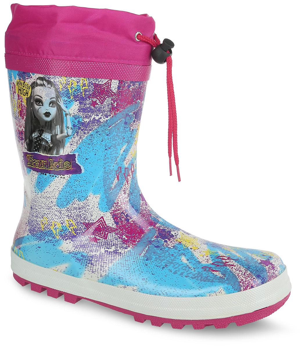 6070BЯркие резиновые сапоги Monster High от Kakadu превосходно защитят ноги вашей девочки от промокания в дождливый день. Сапоги, выполненные из резины, оформлены красочным принтом и изображением героини мультсериала Monster High. Внутренняя поверхность изготовлена из текстильного материала. Съемная стелька из ЭВА материала с верхней поверхностью из текстиля создаст комфорт при ходьбе. Текстильный верх голенища регулируется в объеме за счет шнурка со стоппером. Рельефная поверхность подошвы гарантирует отличное сцепление с любой поверхностью. Качественная и комфортная обувь с изображениями любимых персонажей порадует юных поклонниц мультсериала Monster High.