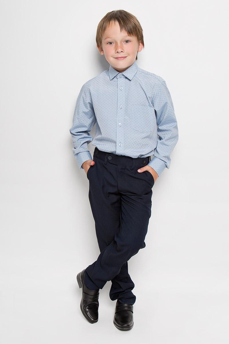Lyon 7Стильная рубашка для мальчика Imperator отлично сочетается как с джинсами, так и с классическими брюками. Она выполнена из хлопка с добавлением полиэстера. Материал изделия мягкий и приятный на ощупь, не сковывает движения и обладает высокими дышащими свойствами. Рубашка прямого кроя с длинными рукавами и отложным воротником застегивается на пуговицы по всей длине. Манжеты рукавов также имеют застежки-пуговицы. На груди расположен накладной карман. Дизайн и расцветка делают эту рубашку стильным и модным предметом одежды. Она займет достойное место в детском гардеробе!