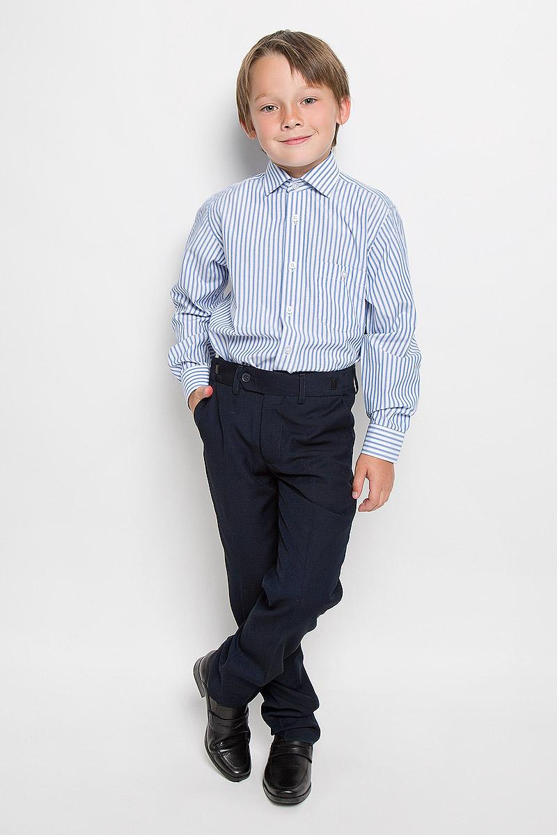 Рубашка для мальчика. Agent 058Agent 058Стильная рубашка для мальчика Imperator идеально подойдет вашему юному мужчине. Изготовленная из хлопка с добавлением полиэстера, она мягкая и приятная на ощупь, не сковывает движения и позволяет коже дышать, не раздражает даже самую нежную и чувствительную кожу ребенка, обеспечивая ему наибольший комфорт. Модель классического кроя с длинными рукавами и отложным воротничком застегивается по всей длине на пуговицы. На груди располагается накладной карман на пуговице. Края рукавов дополнены широкими манжетами на пуговицах. Оформлено изделие принтом в полоску. Такая рубашка будет прекрасно смотреться с брюками и джинсами. Она станет неотъемлемой частью детского гардероба.