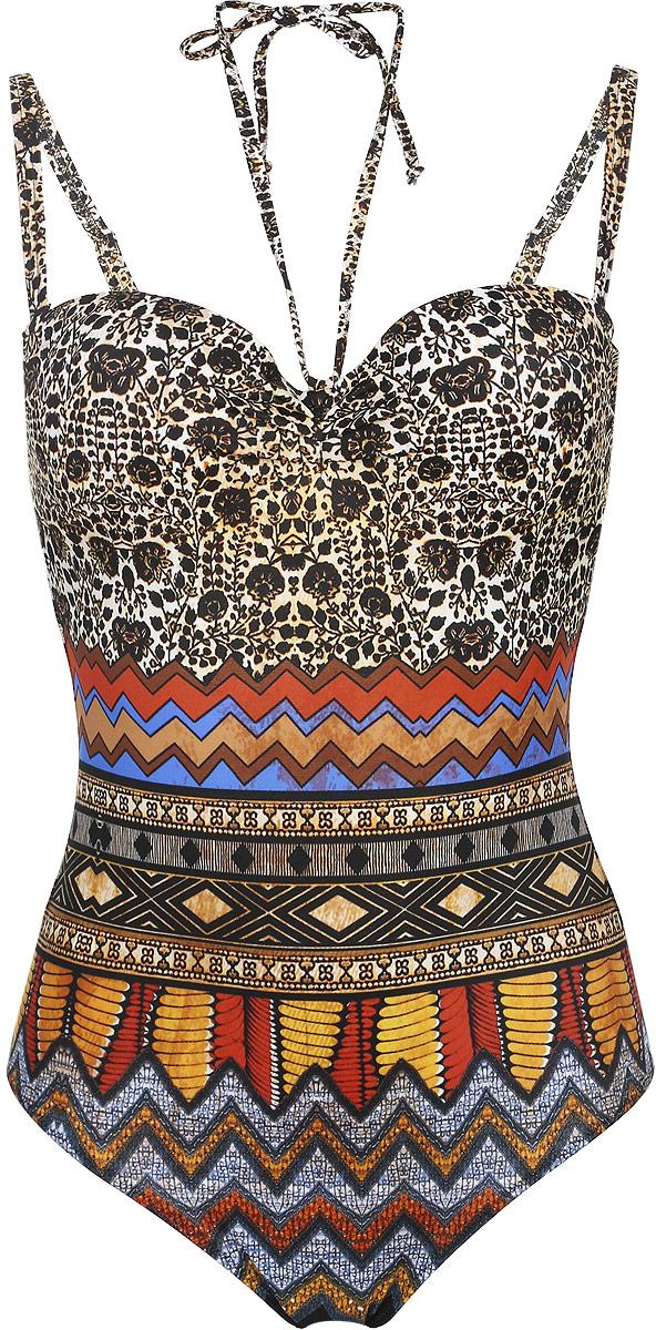SF581A-1068Купальник-монокини Tribuna Янтарь - это оригинальный купальный костюм для самых стильных девушек, он позволит вам подчеркнуть свой вкус и элегантность. Купальник-монокини выполнен из эластичного полиамида. Съемные широкие бретели регулируются по длине. Купальник также дополнен узкими съемными завязками на шею. Лиф с формованными чашками оснащен косточками, обеспечивающими наилучшую посадку и дополнительную поддержку груди. Спинка купальника застегивается на металлическую защелку. Горизонтальный крой линии декольте и широко расставленные бретели прекрасно формируют бюст, придавая ему округлую форму. Модель оформлена оригинальным принтом, сочетающим геометрический узор и цветочный орнамент. Яркий и стильный купальник великолепно подойдет для плавания и солнечных ванн. Он подарит вам комфорт и сделает ваш образ незабываемым.