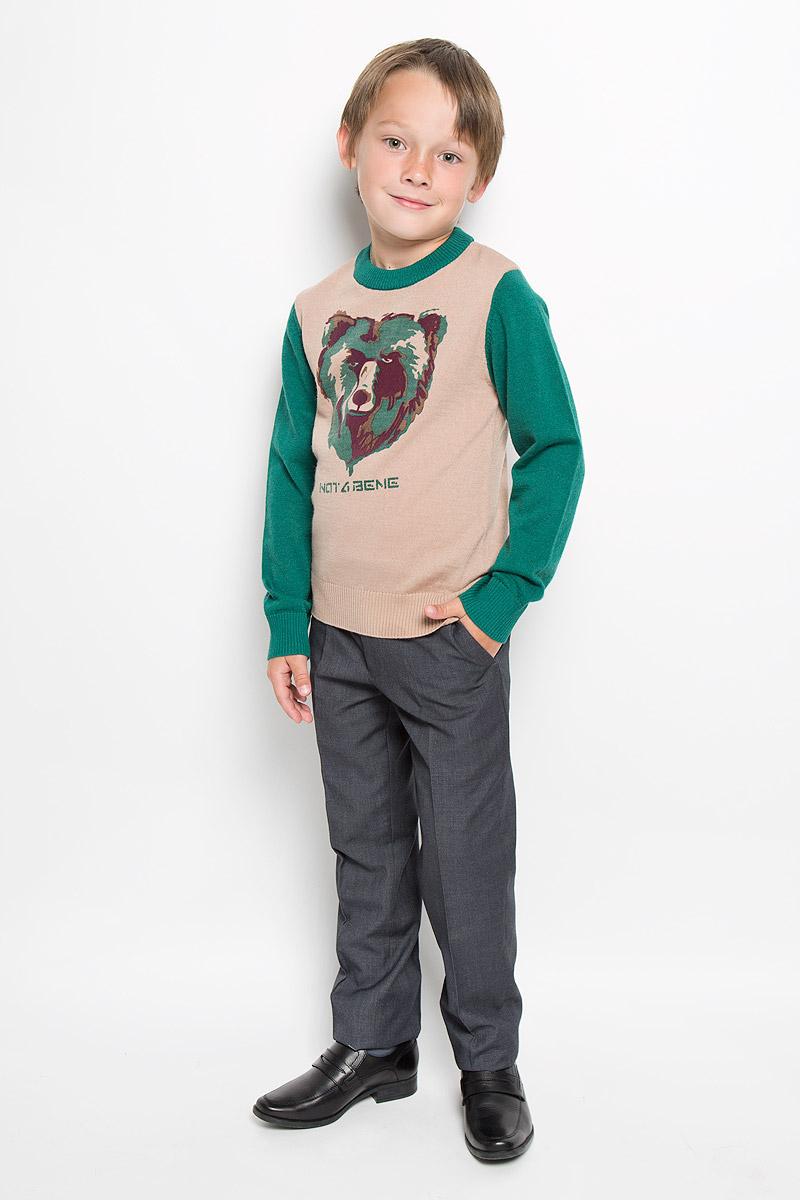 ДжемперWK6240-18Модный джемпер для мальчика Nota Bene подарит вашему ребенку комфорт и удобство в прохладные дни. Изготовленный из натуральной шерсти, он необычайно мягкий и приятный на ощупь, не сковывает движения и позволяет коже дышать, не раздражает даже самую нежную и чувствительную кожу ребенка, обеспечивая наибольший комфорт. Джемпер с длинными рукавами и круглым вырезом горловины хорошо тянется и отлично сидит. Горловина, манжеты рукавов и низ джемпера связаны резинкой. Модель оформлена принтом в виде головы медведя. Оригинальный современный дизайн и модная расцветка делают этот джемпер модным и стильным предметом детского гардероба. В нем ваш малыш будет чувствовать себя уютно и комфортно и всегда будет в центре внимания!