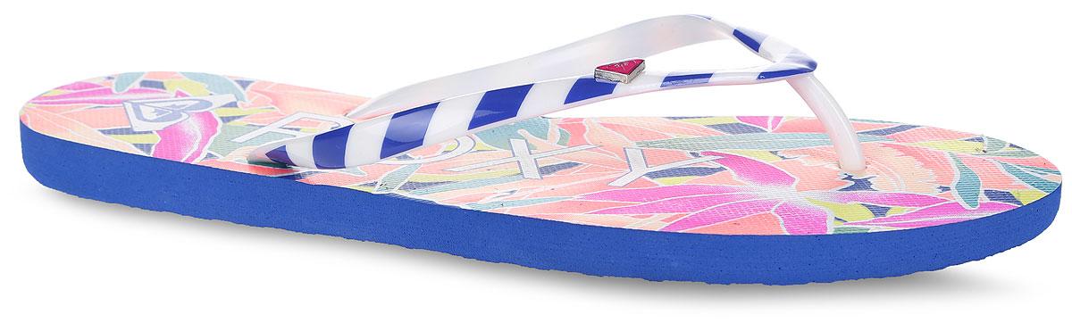Сланцы женские Mimosa. ARJL100129-RASARJL100129-RASСтильные женские сланцы Mimosa от Roxy придутся вам по душе. Верх модели, выполненный из поливинилхлорида, оформлен принтом в полоску и металлическим элементом в виде фирменного логотипа. Ремешки с перемычкой гарантируют надежную фиксацию модели на ноге. Подошва выполнена из материала ЭВА. Верхняя поверхность подошвы оформлена цветочным принтом, названием и логотипом бренда. Рельефное основание подошвы обеспечивает уверенное сцепление с любой поверхностью. Удобные сланцы прекрасно подойдут для похода в бассейн или на пляж.