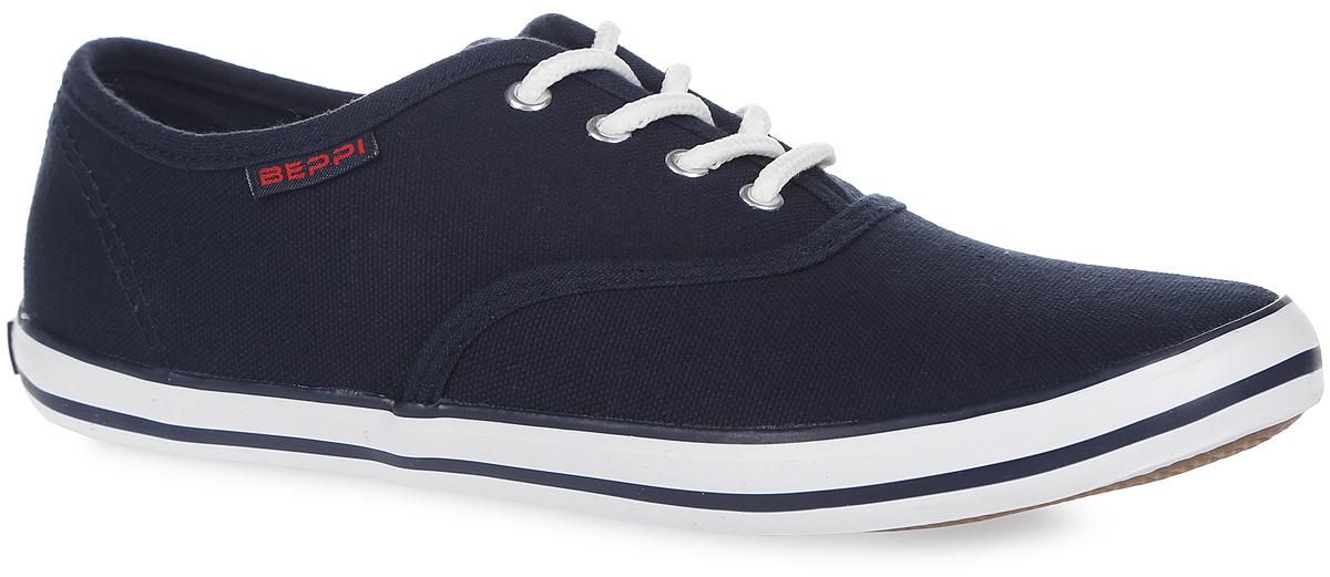 2124090Стильные женские кеды от Beppi покорят вас с первого взгляда! Модель выполнена из плотного текстиля и оформлена сбоку нашивкой с названием бренда, на подошве - контрастными полосками и названием бренда. Классическая шнуровка обеспечивает надежную фиксацию обуви на ноге. Подкладка из текстиля и стелька из материала ЭВА с текстильной поверхностью гарантируют комфорт при движении. Прочная резиновая подошва с рельефным рисунком обеспечивает сцепление с любой поверхностью. Такие кеды займут достойное место в вашем гардеробе.