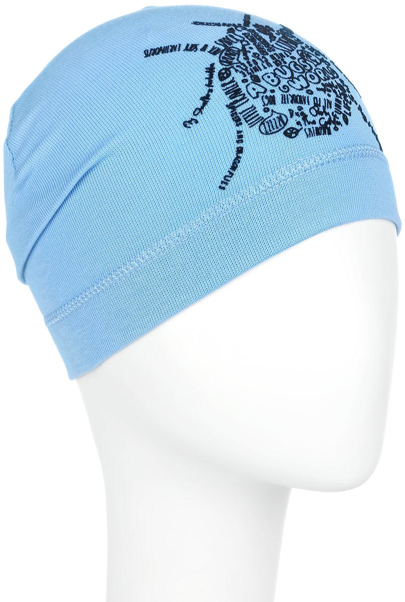 MC3783-22Стильная шапка для мальчика ПриКиндер идеально подойдет для прогулок и активных игр на свежем воздухе. Шапка выполнена из высококачественного эластичного хлопка, она невероятно мягкая и приятная на ощупь, великолепно тянется и удобно сидит. Такая шапочка отлично дополнит любой наряд. Модель украшена принтом с изображением жука из надписей на английском языке. Удобная шапка станет модным и стильным дополнением гардероба вашего ребенка, надежно защитит его от холода и ветра и поднимет ему настроение даже в пасмурные дни! Уважаемые клиенты! Размер, доступный для заказа, является обхватом головы.