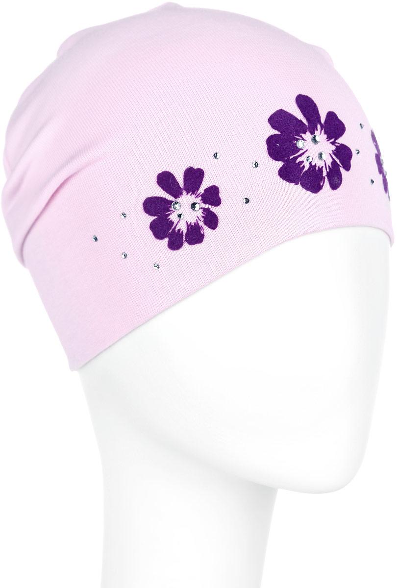 Шапка для девочки. DC3732-22DC3732-22Стильная шапка для девочки ПриКиндер идеально подойдет для прогулок и активных игр на свежем воздухе. Шапка выполнена из высококачественного эластичного хлопка, она невероятно мягкая и приятная на ощупь, великолепно тянется и удобно сидит. Такая шапочка отлично дополнит любой наряд. Модель украшена принтом с изображением цветов и декорирована сверкающими стразами. Удобная шапка станет модным и стильным дополнением гардероба вашей маленькой принцессы, надежно защитит ее от холода и ветра и поднимет ей настроение даже в пасмурные дни! Уважаемые клиенты! Размер, доступный для заказа, является обхватом головы.