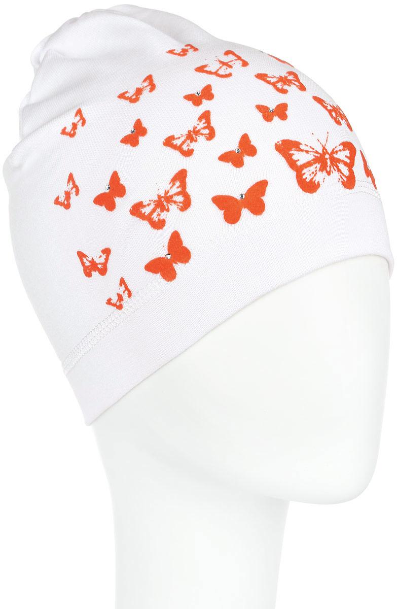 DC3782-22Стильная шапка для девочки ПриКиндер идеально подойдет для прогулок и активных игр на свежем воздухе. Шапка выполнена из высококачественного эластичного хлопка, она невероятно мягкая и приятная на ощупь, великолепно тянется и удобно сидит. Такая шапочка отлично дополнит любой наряд. Модель украшена принтом с изображением бабочек и декорирована сверкающими стразами. Удобная шапка станет модным и стильным дополнением гардероба вашей маленькой принцессы, надежно защитит ее от холода и ветра и поднимет ей настроение даже в пасмурные дни! Уважаемые клиенты! Размер, доступный для заказа, является обхватом головы.