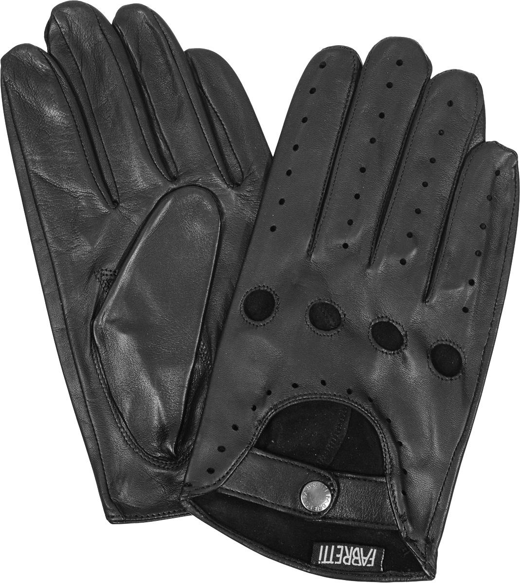 Перчатки мужские, автомобильные. 2.572.57-1Мужские автомобильные перчатки Fabretti позволяют сделать управление автомобилем максимально комфортным и безопасным. Изготовлены перчатки из эфиопской натуральной кожи ягненка и дополнены на запястье хлястиком на кнопке. Летом в перчатках комфортно благодаря специальным вентиляционным отверстиям и перфорации, зимой - холодный руль больше не доставит неудобств.