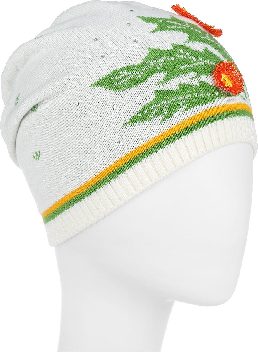 D2287-22Стильная шапка для девочки ПриКиндер идеально подойдет для прогулок и активных игр на свежем воздухе. Шапка выполнена из высококачественного акрила с добавлением шерсти, она невероятно мягкая и приятная на ощупь, великолепно тянется и удобно сидит. Такая шапочка отлично дополнит любой наряд. Модель украшена аппликациями в виде цветков, а также декорирована стразами. Удобная шапка станет модным и стильным дополнением гардероба вашей маленькой принцессы, надежно защитит ее от холода и ветра и поднимет ей настроение даже в пасмурные дни! Уважаемые клиенты! Размер, доступный для заказа, является обхватом головы.