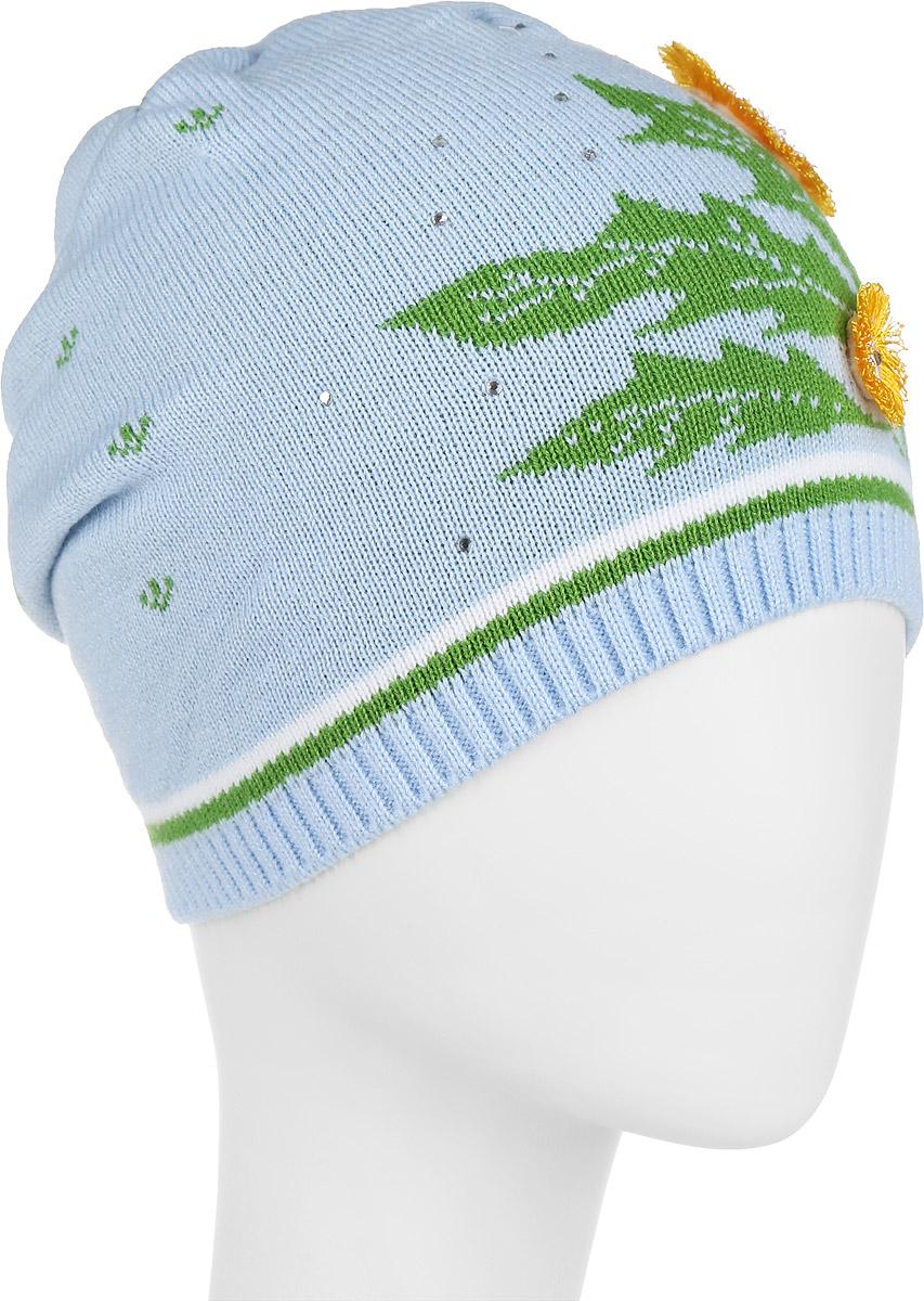 Шапка детскаяD2287-22Стильная шапка для девочки ПриКиндер идеально подойдет для прогулок и активных игр на свежем воздухе. Шапка выполнена из высококачественного акрила с добавлением шерсти, она невероятно мягкая и приятная на ощупь, великолепно тянется и удобно сидит. Такая шапочка отлично дополнит любой наряд. Модель украшена аппликациями в виде цветков, а также декорирована стразами. Удобная шапка станет модным и стильным дополнением гардероба вашей маленькой принцессы, надежно защитит ее от холода и ветра и поднимет ей настроение даже в пасмурные дни! Уважаемые клиенты! Размер, доступный для заказа, является обхватом головы.