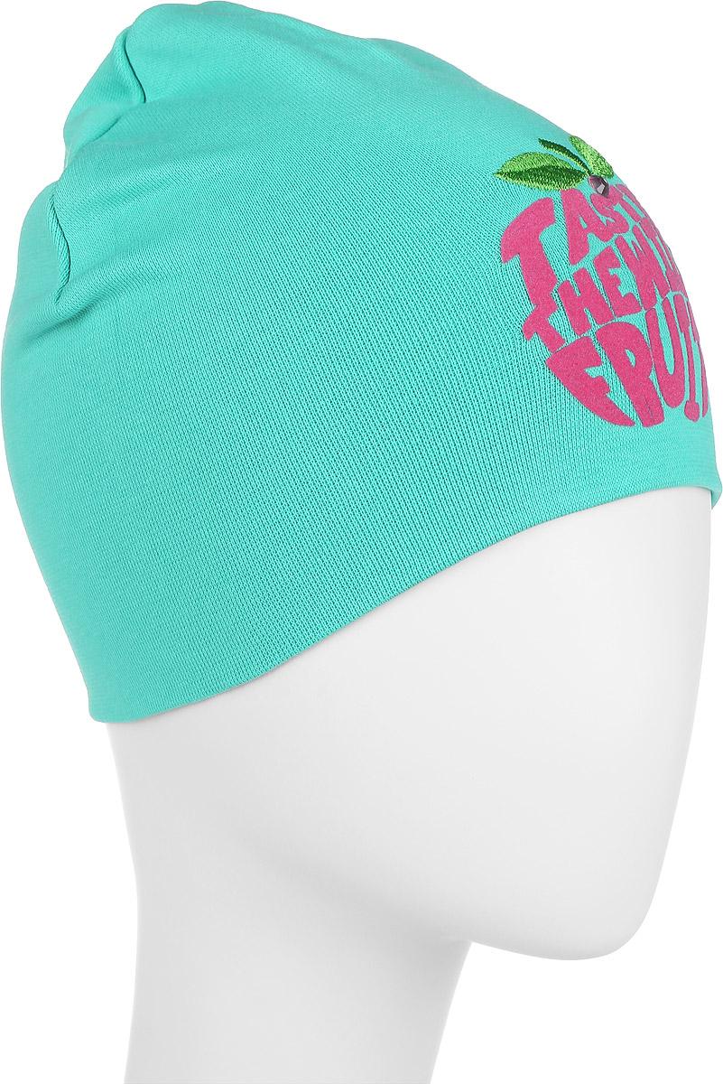 Шапка для девочки. DC3648-22DC3648-22Стильная шапка для девочки ПриКиндер идеально подойдет для прогулок и активных игр на свежем воздухе. Шапка выполнена из высококачественного эластичного хлопка, она невероятно мягкая и приятная на ощупь, великолепно тянется и удобно сидит. Такая шапочка отлично дополнит любой наряд. Модель украшена вышивкой и бархатистой аппликацией в виде надписи Taste the Wild Fruit, а также декорирован блестящим стразом. Удобная шапка станет модным и стильным дополнением гардероба вашей маленькой принцессы, надежно защитит ее от холода и ветра и поднимет ей настроение даже в пасмурные дни! Уважаемые клиенты! Размер, доступный для заказа, является обхватом головы.