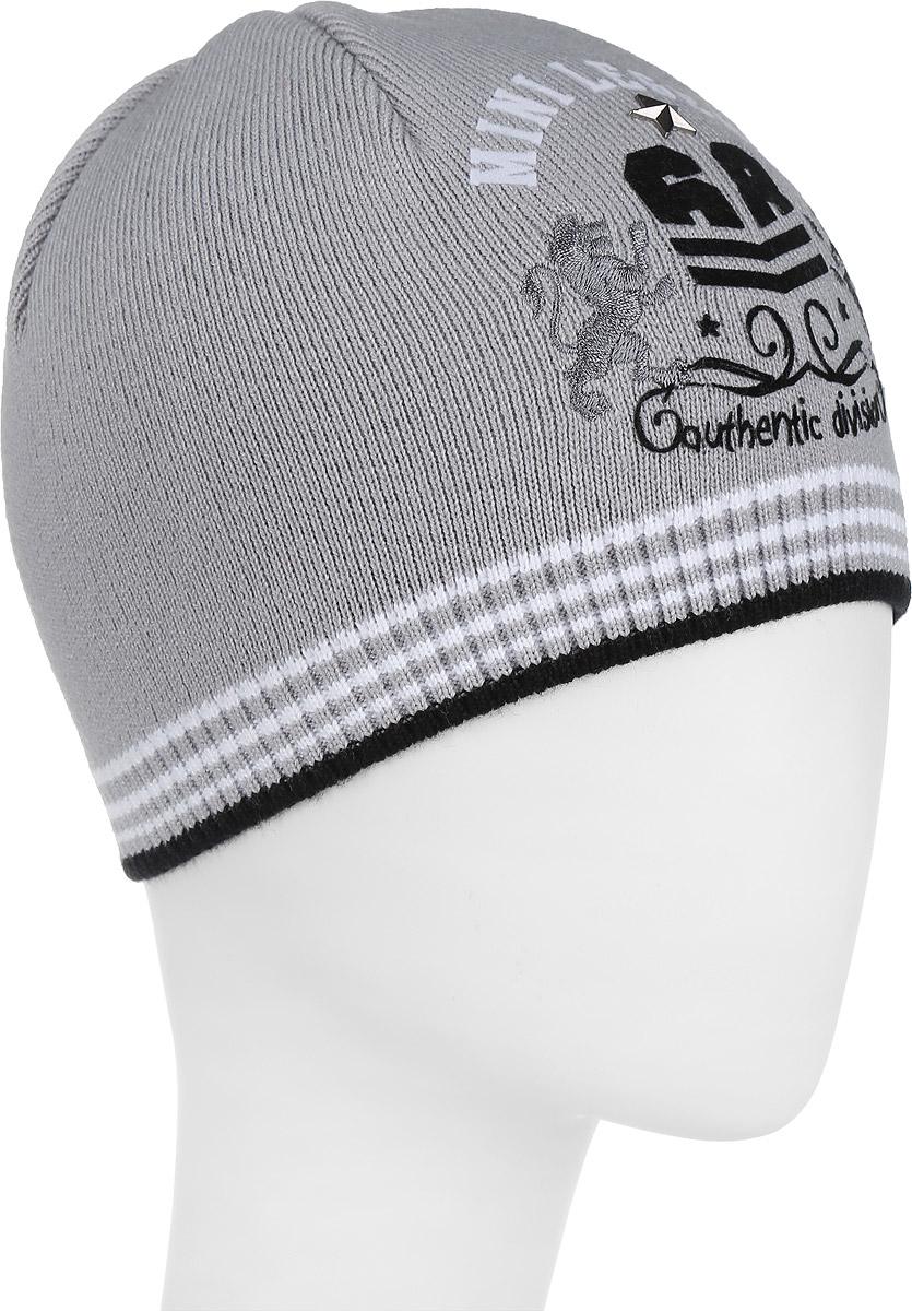 Шапка для мальчика. M3607-22M3607-22Стильная теплая шапка для мальчика ПриКиндер идеально подойдет для прогулок и активных игр в холодное время года. Шапка выполнена из высококачественного акрила с добавлением хлопка, она невероятно мягкая и приятная на ощупь, великолепно тянется и удобно сидит. Такая шапочка отлично дополнит любой наряд. Модель украшена вышивкой и аппликацией в виде оригинального герба спереди, а также небольшой металлической звездой. Удобная шапка станет модным и стильным дополнением гардероба вашего ребенка, надежно защитит его от холода и ветра и поднимет ему настроение даже в пасмурные дни! Уважаемые клиенты! Размер, доступный для заказа, является обхватом головы.